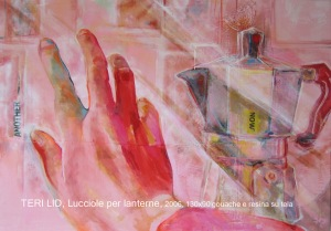 pink art red hand coffee pot Teri Lid painting lucciole per lanterne 2006