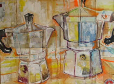 Nice conversation art artwork coffee pot terilid teri lid art painting book page Conversazione Teri Lid caffettiere moka