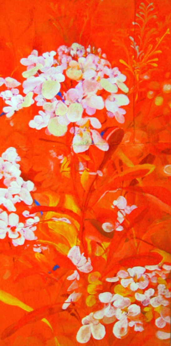 Teri Lid flowers orange painting gouacheart