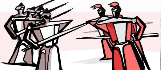 Crociati contro saraceni illustrazione del Morgante del Pulci di Teri Lid