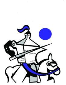Maria Teresa Santinato art illustration blue coffee pot moka caffettiera Cavaliere illustrazione di Teri Lid. Dal Morgante di Luigi Pulci