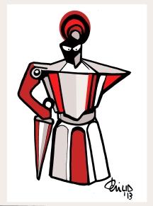 Teri Lid terilid coffee pot human graphic art Cavaliere crociato illustrazione