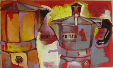 nice conversation art teri lid moka coffee pot caffettiere red art conversazione