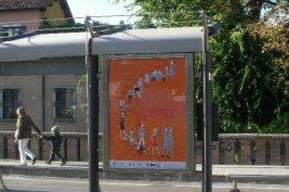 Teatro de Linutile poster Riviera del Businello Padova Tram bus stop Santo