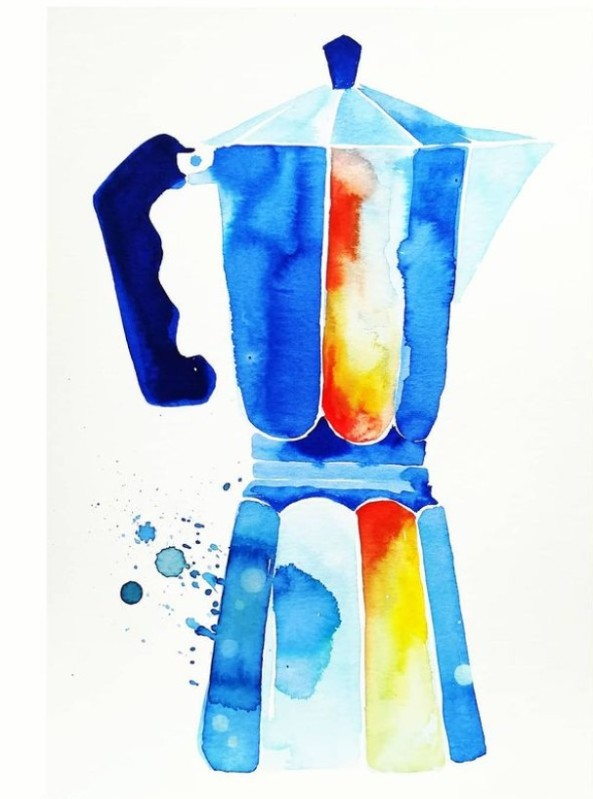 caffettiera.terilid.acquerello.-watercolour.-cofeepot.-blue.-1