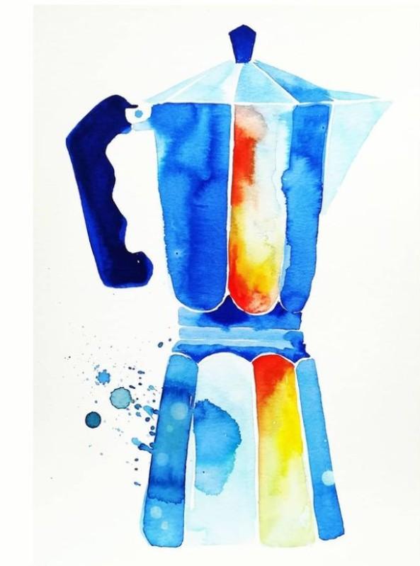 caffettiera.terilid.acquerello.-watercolour.-cofeepot.-blue.-1